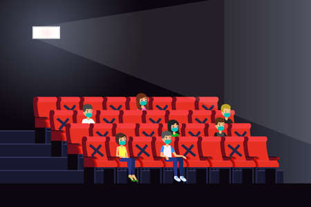 A vector illustration of People Watching Movies Inside a Theater During Pandemic
