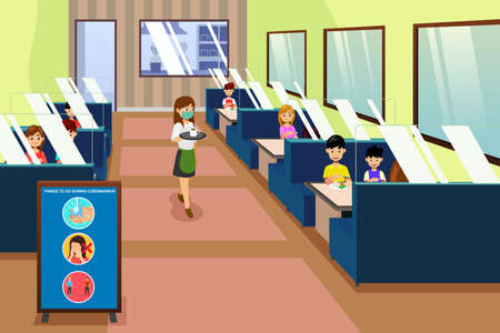 A vector illustration of People Eating in a Restaurant During Pandemic
