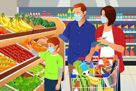 A vector illustration of Family Shopping Grocery Wearing Mask During Pandemic