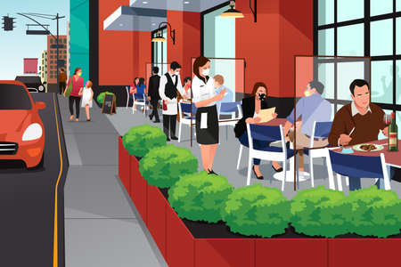 A vector illustration of People Eating Outdoor at Restaurant During Pandemic