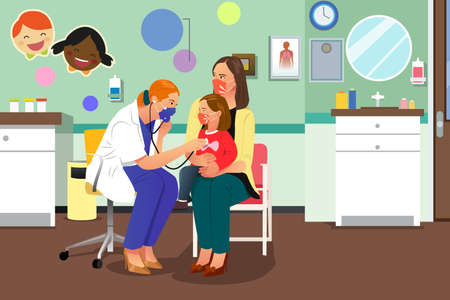 A vector illustration of Doctor Checking on a Kid Wearing Mask Illustration