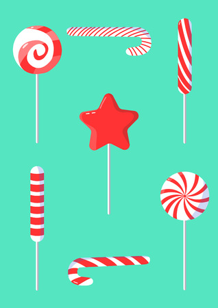 Christmas set of candy cane in modern flat design.