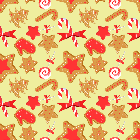 Seamless pattern with christmas sweats:lollipop, candy cane, ginger cookie. Art can be used for holiday packing, wallpaper, background, postcard.