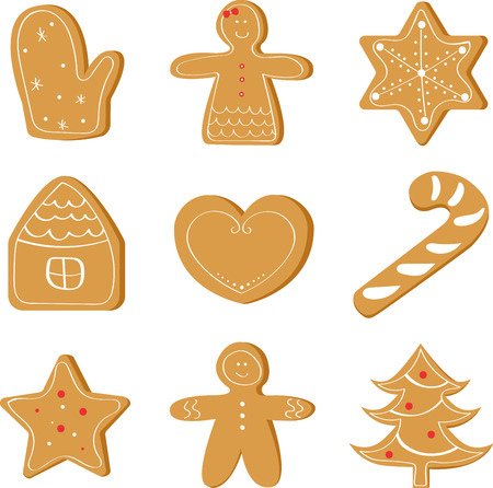 Christmas set of ginger bread, holiday cookie.