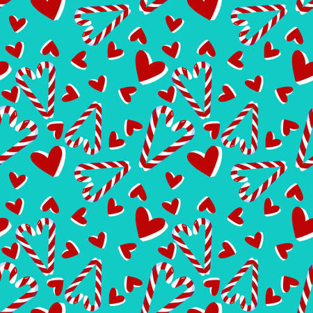 Christmas seamless pattern with candy cane and hearts .Holiday decoration perfect for wallpaper, posrcard, holiday packing, greeting.