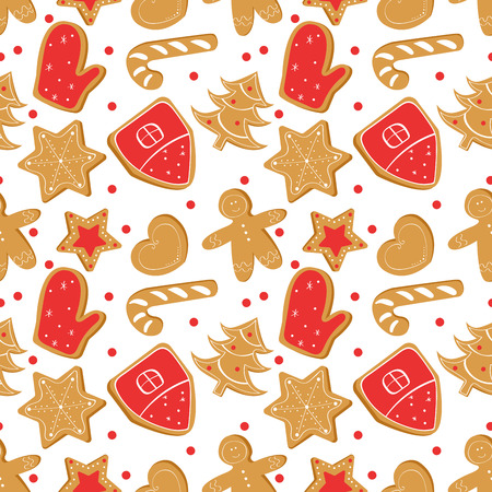 Christmas seamless pattern with ginger bread.Holiday cookies. Illustration