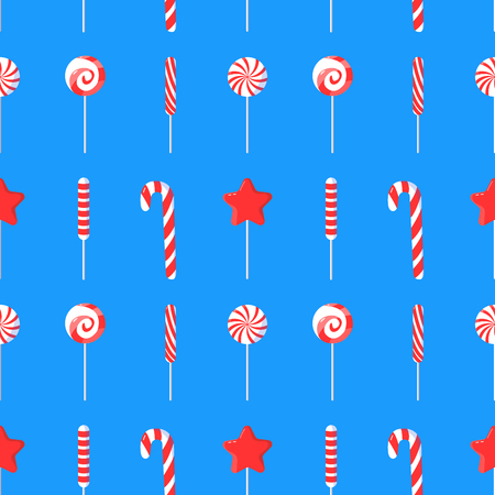 Seamless pattern with candy canes. Art can be used for wallpaper, poster, postcard, holiday packing. Ilustração
