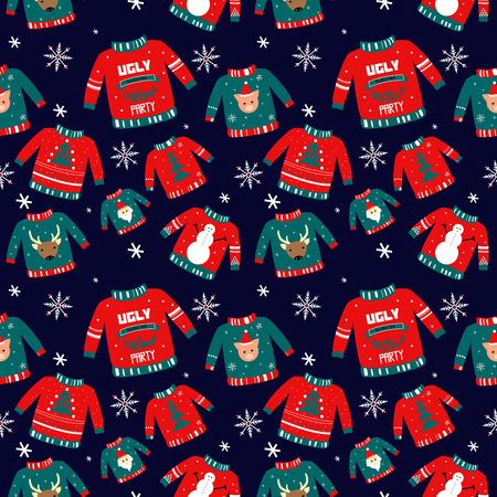 Vector pattern for holiday events as Ugly Christmas Sweater party.Hand drawn illustration can be used for invitation, postcard, poster, wallpaper, holiday packing. Happy new year symbol: tree; santa; dear; snowflake; snowman.