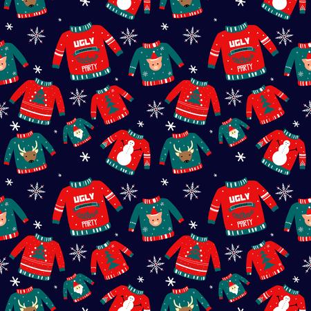 Vektormuster für Feiertagsereignisse als hässliche Weihnachtspulloverparty. Handgezeichnete Illustration kann für Einladungen, Postkarten, Poster, Tapeten, Feiertagsverpackungen verwendet werden. Symbol des guten Rutsch ins Neue Jahr: Baum; Weihnachtsmann; sehr geehrter; Schneeflocke; Schneemann.