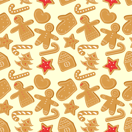 Christmas seamless pattern with ginger cookies. Illustration