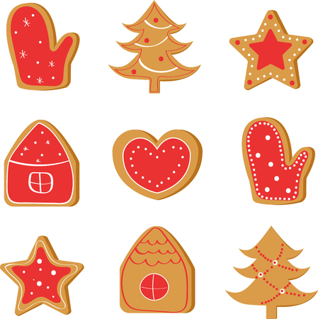 Christmas set with ginger cookies: tree, house, star, heart, mitten. Illustration
