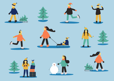 Winter set with people: skating man, women with sled, women with child, women with gift, men in sweater, women with snowman. Christmas holiday art. 矢量图像