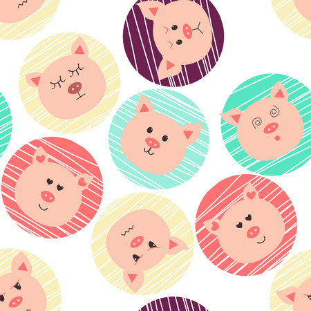 Seamless pattern with pigs.