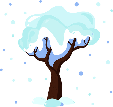 Illustration of winter tree covered in snow. Flat style design. Illustration