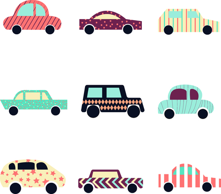 Collection of cute modern cars. Automobile icon.