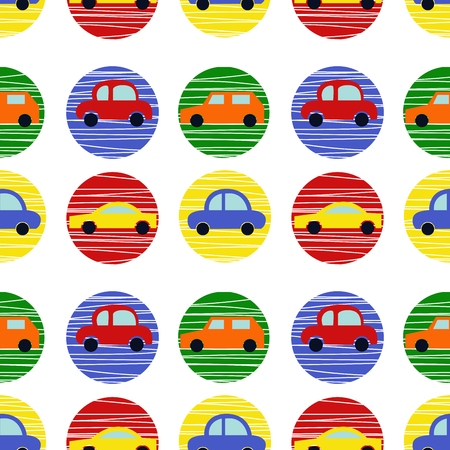 Seamless pattern with bright modern cars. Polka dot background.