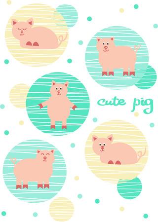 Cute pig set  vector illustration Illustration