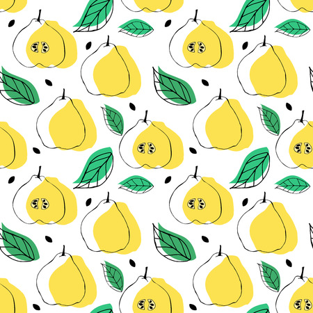 Seamless pattern with apple quince ande leaves. Tropical bright background.