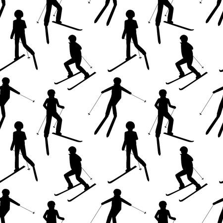 Wzór z czarnymi sylwetkami ludzi na nartach: człowiek; kobieta; dziecko. Gry o sportach zimowych. Boże Narodzenie ilustracja. Ilustracje wektorowe