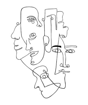 Nowoczesny plakat z liniowymi abstrakcyjnymi twarzami. Ciągła grafika liniowa. Jeden rysunek linii. Minimalistyczna grafika.