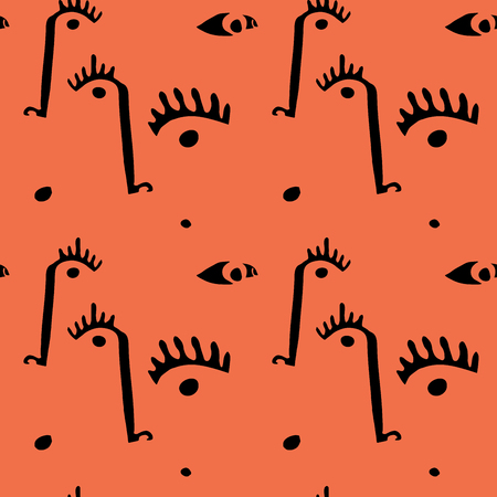 Abstract minimal faces. Seamless modern pattern with eyes and noses