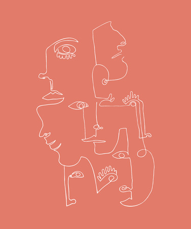 Modern Poster With Linear Abstract Faces Continuous Line Art