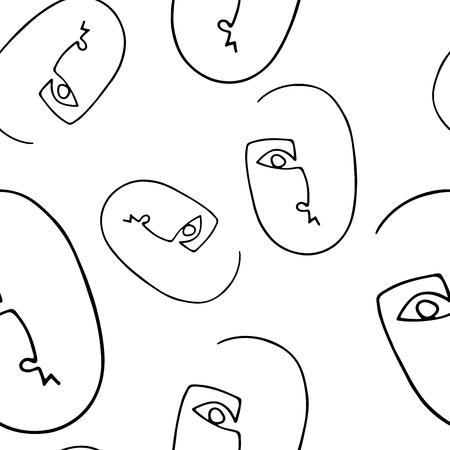 Nahtloses Muster mit abstraktem Umrissschattenbild des menschlichen Gesichtes. Schwarzes Schattenbild auf weißem Hintergrund. Trendige minimalistische Gesichter. Modernes Avantgarde-Poster.