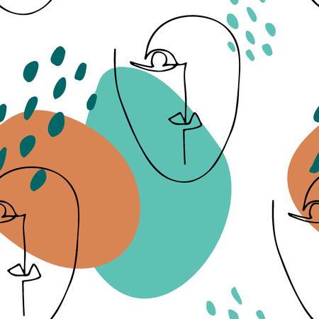 Siluetta lineare astratta del volto umano. Poster moderno. Stile grafico minimalista. Modello senza cuciture con cerchi e facce sovrapposti Vettoriali