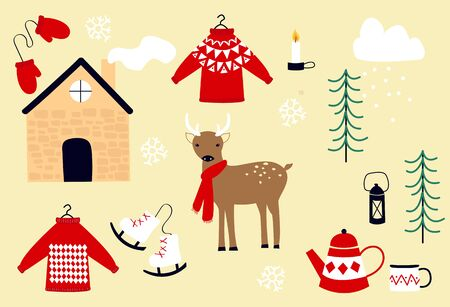 Collection of vector drawings on a winter Christmas theme: deer in a scarf, a cozy house, falling snow, tea and a teapot, a candle and a candlestick, knitted sweaters and hands, skates, Christmas trees. Hygge attributes in scandinavian style. Illusztráció
