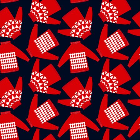 Seamless pattern for holiday events as Ugly Christmas Sweater party. Winter print for holiday packing, greeting, invitation.