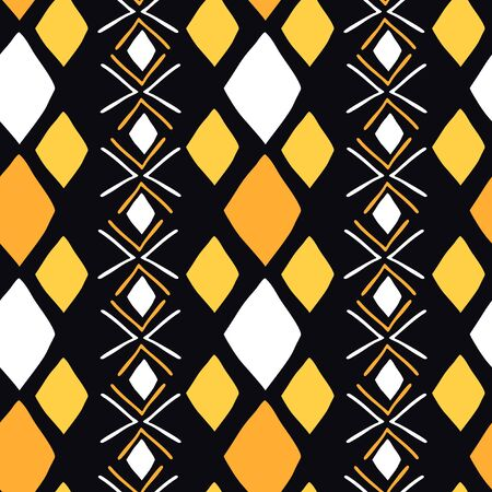 African seamless pattern with bogolanfini symbols. Ethnic wallpaper for cover design.