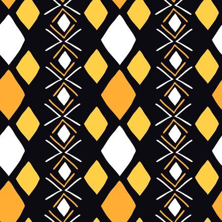 Afrikanisches nahtloses Muster mit Bogolanfini-Symbolen. Ethnische Tapete für Cover-Design.