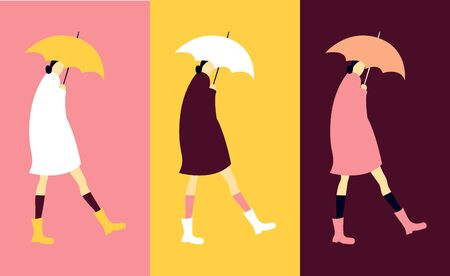 Autumn poster with woman with umbrella. Cozy  print in pop style design