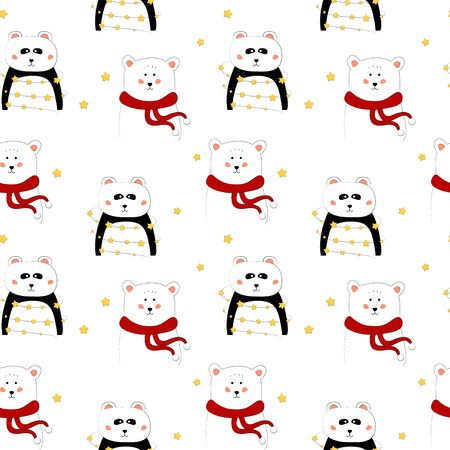 Seamless pattern with panda and bear. Art for children illustration, holiday packing.