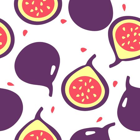 Seamless pattern with figs - one whole and one cut. Summer tropic fruits. Vector flat illustation Фото со стока - 136558197