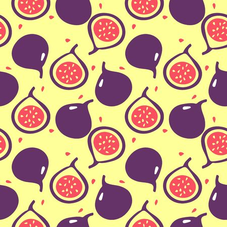 Vector flat illustartion of figs - one whole and one cut. Summer tropic fruits. Фото со стока - 136478238