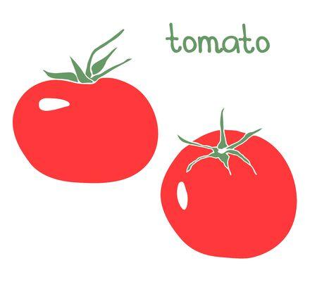 Gezeichnete Illustration des Vektors Hand mit Tomate. Flaches Design.