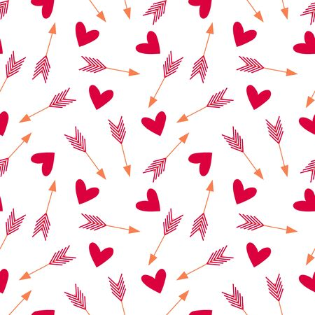 Seamless pattern with arrows and hearts. Romantic valentine print. 向量圖像