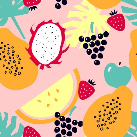Seamless pattern with tropical fruits - melon; dragon fruit; papaya; strawberry; apple; grapes. Cartoon backdrop with fruits and monstera leaves.