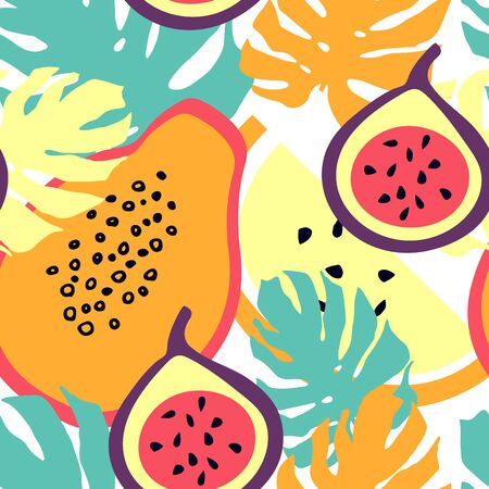Seamless pattern with figs, monstera leaves, melon and papaya.  Summer tropic fruits.