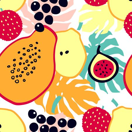 Summer cartoon print with tropical fruit - lychee, papaya, pear, fig, grapes. Seamless pattern with fruits and monstera leaves.