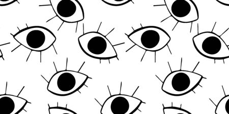Seamless pattern with cute cartoon eyes in abstract style. Black graphic drawnig of eyeballs with eyelashes on white background. Trendy modern poster. Ilustração Vetorial