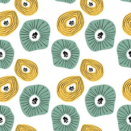 Seamless pattern with abstract flowers. Avan-garde cute cartoon background. Abstractionism style.