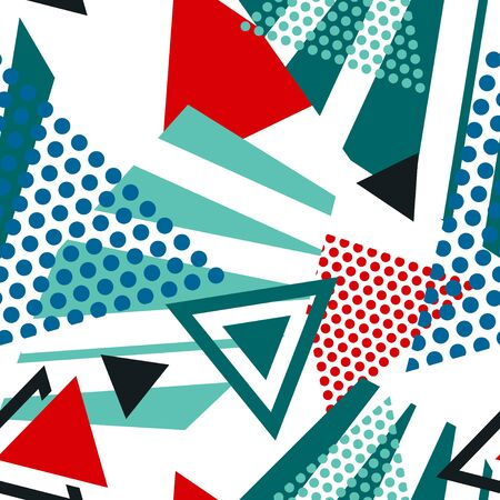 Abstract seamless pattern with graphyc elements - triangles. Collage style. Geometric wallpaper for cover design.