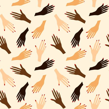 Seamless pattern with human hands. Print with hands of people of different nationalities and races. Иллюстрация