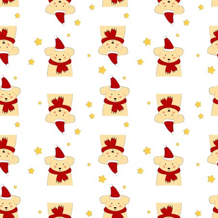 Seamless pattern with puppy in a scarf. Art for children illustration, holiday packing.