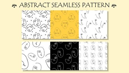 Trendy print with abstract graphic faces. Seamless pattern design. Outline portrait. One line drawing