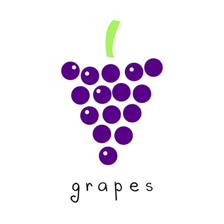 Vector drawing of grapes in modern simple design.