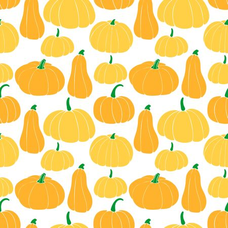Seamless pattern with different varieties of pumpkins. bottle gourd; cinderella variety; butternut.