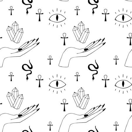 Occultism print with gothic hands and magic signs - devil eye, crystal, cross, snake. Seamless pattern. Linear black drawing. Ilustração